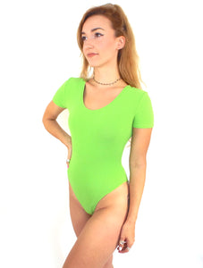 Vintage 90s Textured Short Sleeve Lime Green Bodysuit