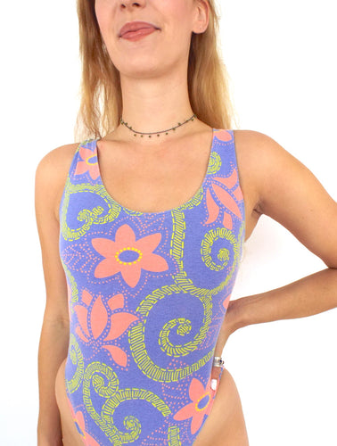 Vintage 90s High-Cut Pink and Purple Floral Print Bodysuit