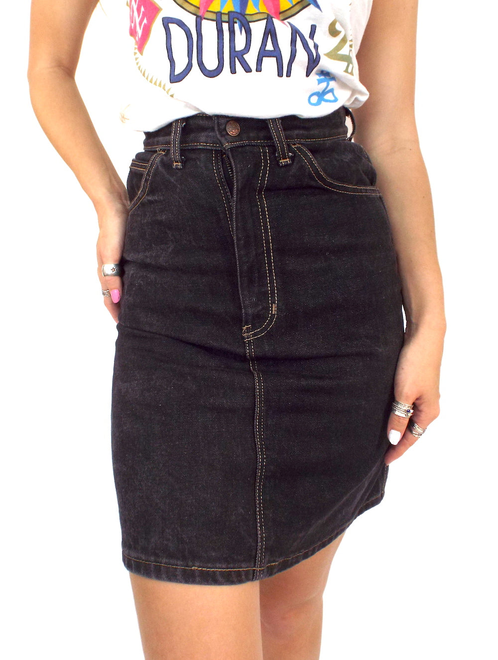 Vintage 90s Black High-Waist Denim Pencil Skirt -- Size 26