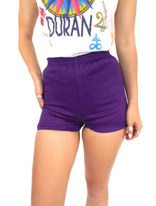 Vintage 70s High-Waisted Purple Gym Shorts -- Size Extra Small/Small