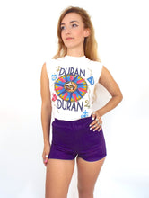 Load image into Gallery viewer, Vintage 70s High-Waisted Purple Gym Shorts -- Size Extra Small/Small