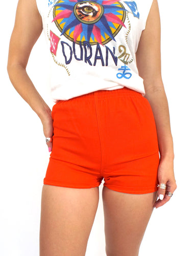 Vintage 70s High-Waisted Orange Gym Shorts -- Size Extra Small/Small