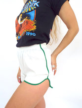 Load image into Gallery viewer, Vintage 70s High-Waisted White and Kelly Green Gym Shorts -- Size Small