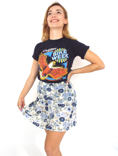 Vintage 90s High-Waist Blue Floral Print Mini Skirt -- Size 27