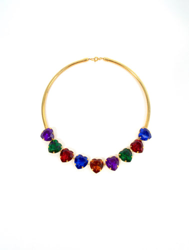 Vintage Gold Tone Colorful Heart Rhinestone Choker