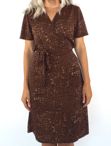 Vintage 90s Brown Snake Print Wrap Dress