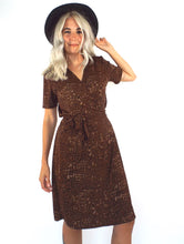 Load image into Gallery viewer, Vintage 90s Brown Snake Print Wrap Dress