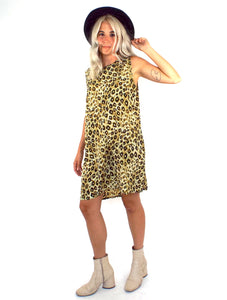 Vintage 90s Flowy Leopard Print Shift Dress