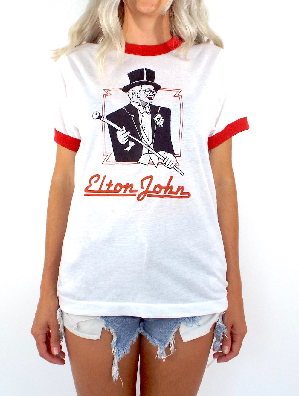 Vintage 70s Red and White Elton John Ringer Tee
