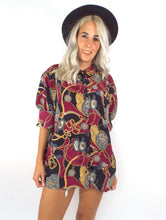 Load image into Gallery viewer, Vintage Oversized Baroque Print Button Down Blouse