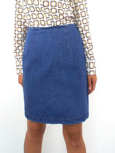 Load image into Gallery viewer, Vintage 90s High-Waist Denim Pencil Skirt-- Size 28