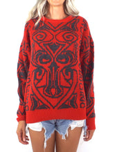Load image into Gallery viewer, Vintage 80s Red and Grey Graphic Sweater