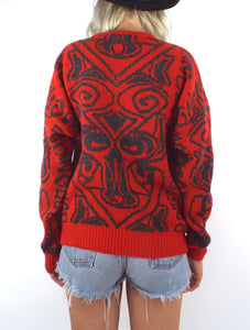 Vintage 80s Red and Grey Graphic Sweater