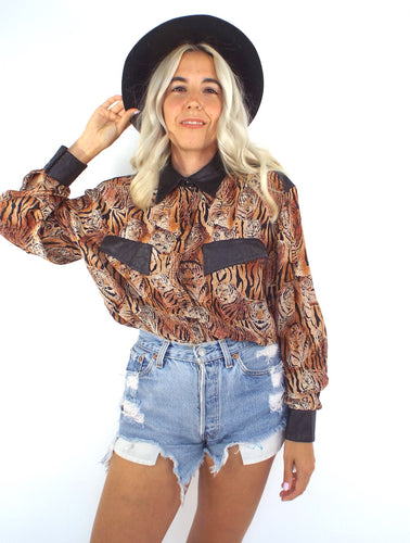 Vintage Silk and Leather Tiger Print Button Down Blouse