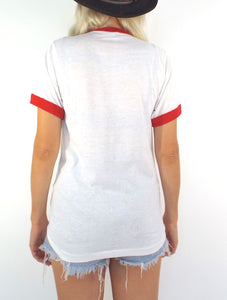 Vintage Queen Red and White Ringer Tee - Size Small