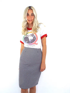 Vintage 90s High-Waist Black and White Gingham Print Pencil Skirt-- Size 26