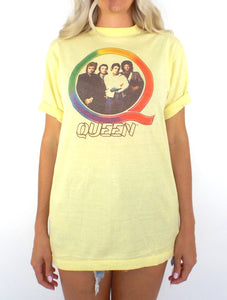 Vintage 70s Pale Yellow Queen Tee