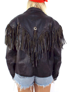 Vintage 80s Distressed Black Leather Fringe Jacket