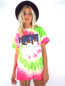 Vintage 80s Neon Pink and Green Tie Dye Dallas, Texas Tee