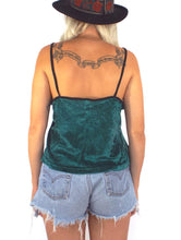 Load image into Gallery viewer, Vintage 90s FOXY Green Velvet Spaghetti Strap Tank Size Medium/Large