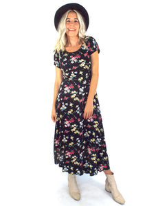 Vintage 90s Floral Print Maxi Dress - Size Small