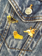 Load image into Gallery viewer, Vintage 70s Gold Tone Zodiac Sign Pins - Taurus, Sagittarius, Leo