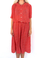 Load image into Gallery viewer, Vintage 80s Red and White Buttondown Cinched Waist Midi Dress