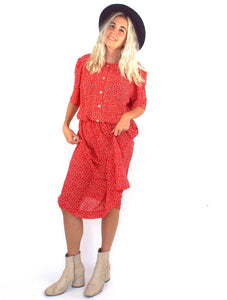 Vintage 80s Red and White Buttondown Cinched Waist Midi Dress