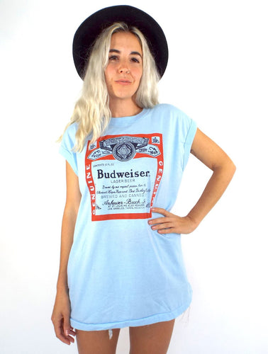 Vintage 80s Oversized Baby Blue Budweiser Tank