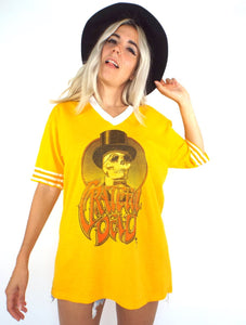 Vintage 90s Grateful Dead Gold and White Skeleton Tee