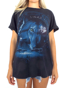 Vintage 90s Black and Blue Wolf Tee