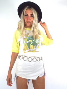 Vintage 1976 Bruce Springsteen Yellow and White Baseball Tee