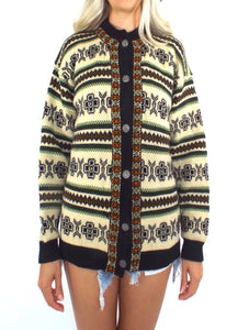Vintage 70s Fair Isle Print Button Front Cardigan