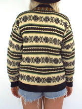 Load image into Gallery viewer, Vintage 70s Fair Isle Print Button Front Cardigan