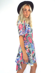 Vintage 90s Pastel Floral Print Hi Low Dress