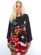 Load image into Gallery viewer, Santa Claus is Comin' to Town Vintage 80s Ugly Christmas Sweater