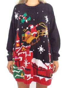 Santa Claus is Comin' to Town Vintage 80s Ugly Christmas Sweater