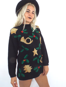 Jingle Bell Rock Vintage 90s Ugly Christmas Sweater