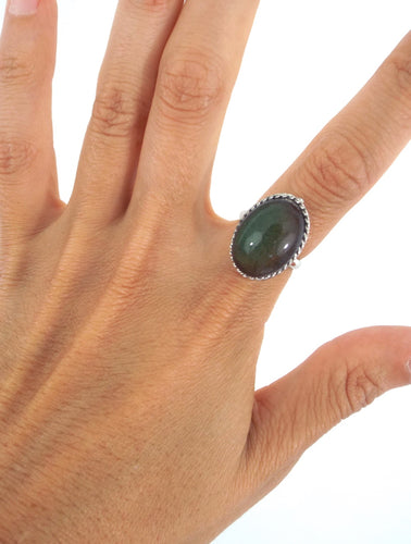 Vintage 70s Silver Plated Oval Rope Design Mood Ring