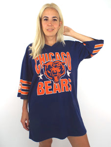 Vintage 80s Oversized Chicago Bears Striped Sleeve Tee