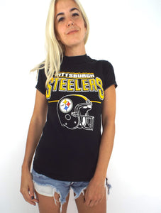 Vintage 80s Pittsburgh Steelers Helmet Tee Size Small