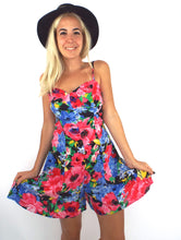 Load image into Gallery viewer, Vintage 90s Paris Blues Colorful Floral Print Romper Size Small