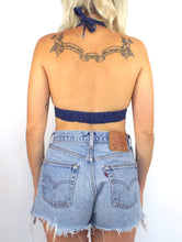 Load image into Gallery viewer, Vintage 70s Denim Star and Moon Rhinestone Halter Top