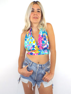 Vintage 70s Pink and Blue Floral Print Halter Top