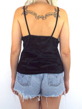 Load image into Gallery viewer, Vintage 90s LUCKY Black Velvet Spaghetti Strap Tank