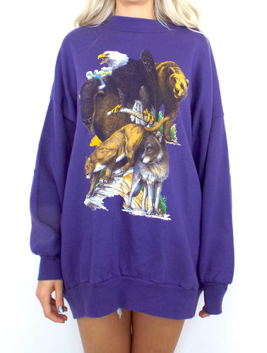 Vintage 90s Purple Oversized Wildlife Sweatshirt