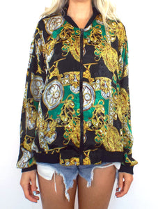 Vintage 80s Baroque-Style Clock Print Bomber Jacket