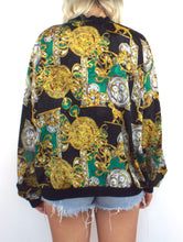 Load image into Gallery viewer, Vintage 80s Baroque-Style Clock Print Bomber Jacket