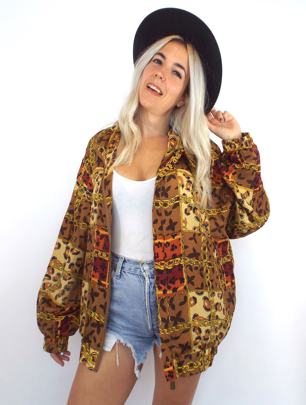 Vintage 90s Silk Baroque-Syle Leopard and Chain Print Bomber Jacket