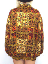 Load image into Gallery viewer, Vintage 90s Silk Baroque-Syle Leopard and Chain Print Bomber Jacket